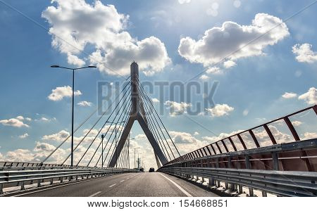 cable-stayed bridge in Bari. day modern city view. architecture detail
