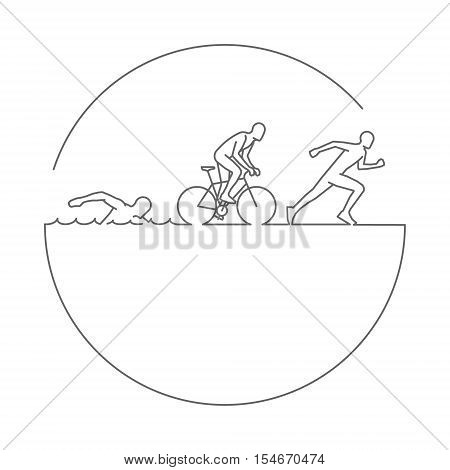 Vector gold line logo triathlon. Figures triathletes on white background. Swimming cycling and running symbol.