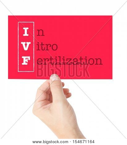 In Vitro Fertilization explained on a card held by a hand