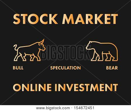 Line vector design concept for stock market and online investment.