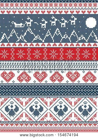 Scandinavian Printed Textile  style and inspired by  Norwegian Christmas, festive winter seamless pattern in cross stitch with Xmas trees, snowflakes, Reindeer,mountains, moon, Sleigh, hearts,  angels