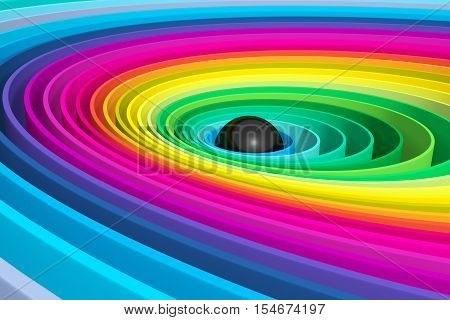 black pearl in colorful circles  3d illustration