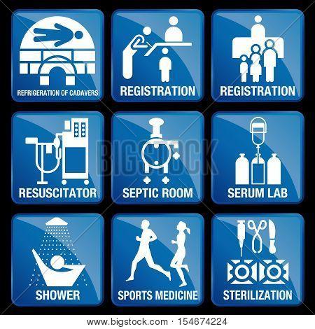 Set of Medical Icons in blue square background - REFRIGERATION OF CADAVERS, REGISTRATION, RESUSCITATOR, SEPTIC ROOM, SERUM LAB, SHOWER, SPORTS MEDICINE, STERILIZATION
