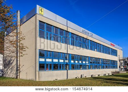 Wallisellen, Switzerland - 30 October, 2016: octane 126 company building. octane 126 AG is a company, which provides official Ferrari and Maserati car service.