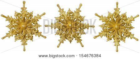 Snow Flake Christmas Decoration Xmas Decorative Snowflake Golden Sparkling Ornate Isolated over White