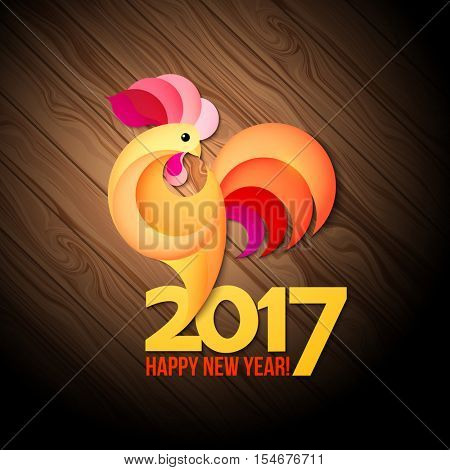Red yellow rooster symbol of new year 2017 in Chinese calendar. Abstract illustration of rooster, vector design element for new year 2017 greeting cards, posters, flyers. Rooster icon. Rooster logo.