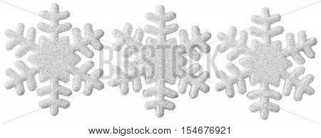 Snowflake Christmas Decoration White Isolated Xmas Snow Flake Decor Set