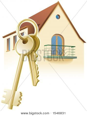 Keys For New Home, House. Realty, Real Estates.