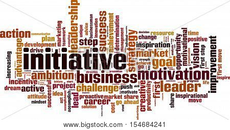 Initiative word cloud concept. Vector illustration on white