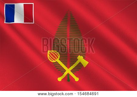 Flag of Alo is one of three official chiefdoms of the French territory of Wallis and Futuna in Oceania in the South Pacific Ocean. 3d illustration