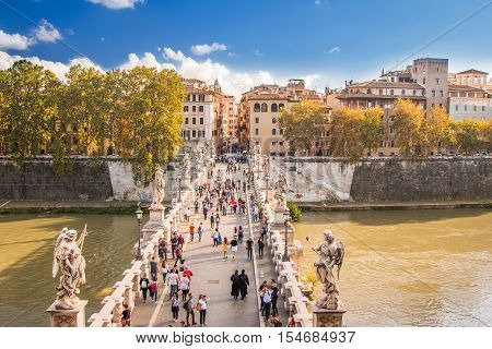 Rome, Italy, October 15th, 2016: Sant'Angelo Bridge across the Tiber river, aerial view from the Castle Sant'Angelo, Mausoleum of Hadrian, Rome, Italy
