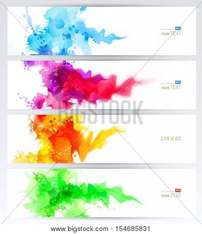 Set of four banners, abstract headers with colored blots. Bright spots and blur are on the standard size banner.