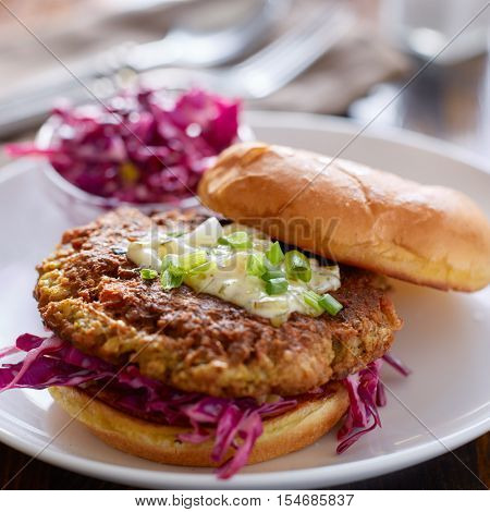 cod cake fish sandwich with tartar sauce and coleslaw