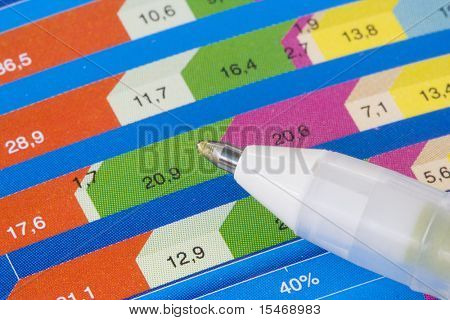 Colorful business chart with a pointing pen (selective and soft focus)
