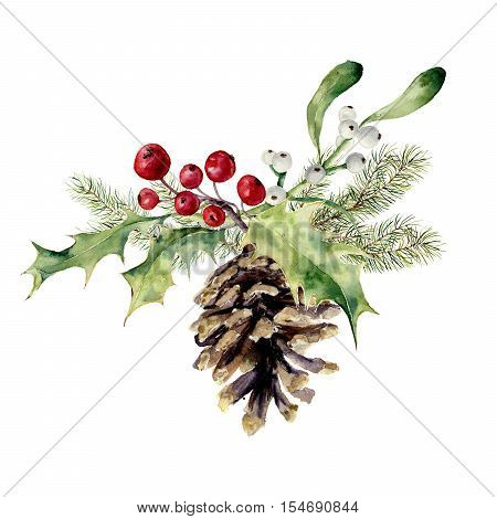 Watercolor fir cone with christmas decor. Pine cone with christmas tree branch, holly and mistletoe on white background. Party element for design, print.