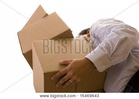 ein Unternehmer holding einen Haufen Paket Parzellen (isolated on White)