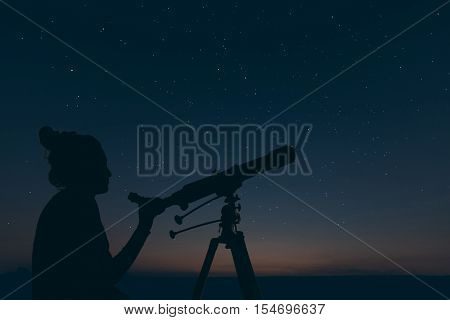 Woman With Astronomical Telescope. Starry Night Constellations, Ursa Major
