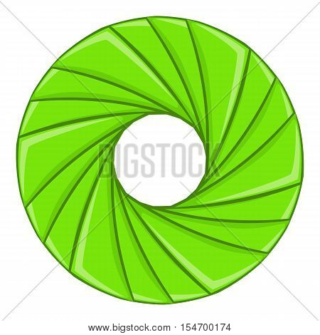 Green shutter icon. Cartoon illustration of shutter vector icon for web design