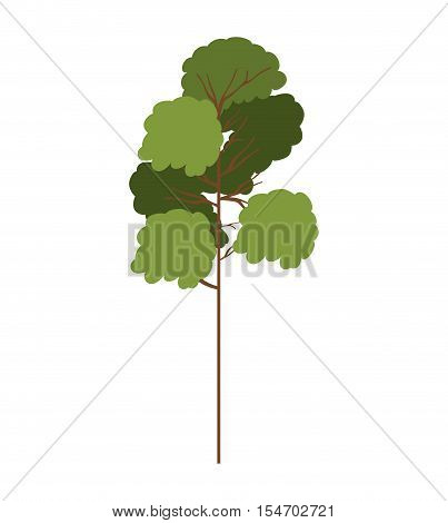 silhouette tree with leafy branches model two vector illustration