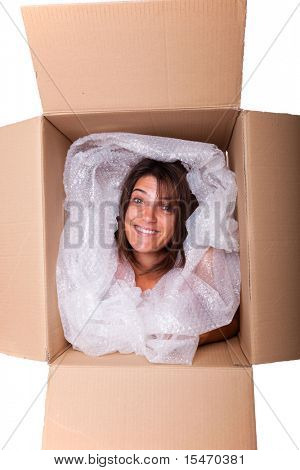 woman face inside a cardboard box smiling