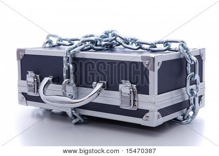 secret business briefcase locked with strong chain (selective focus)