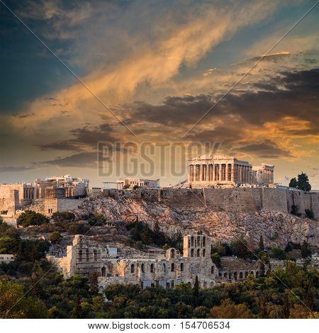 Parthenon temple on Athenian Acropolis at Sunset Athens Greece
