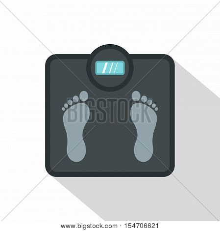 Gray floor scales icon. Flat illustration of floor scales vector icon for web isolated on white background