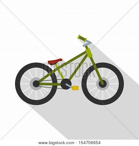 Green bike icon. Flat illustration of green bike vector icon for web isolated on white background