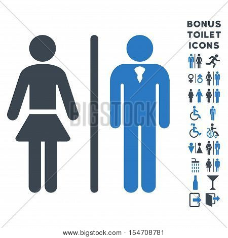 Toilet Persons icon and bonus male and woman toilet symbols. Vector illustration style is flat iconic bicolor symbols, smooth blue colors, white background.