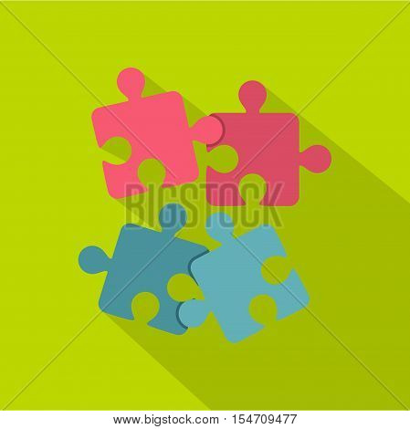 Jigsaw puzzles icon. Flat illustration of jigsaw puzzles vector icon for web