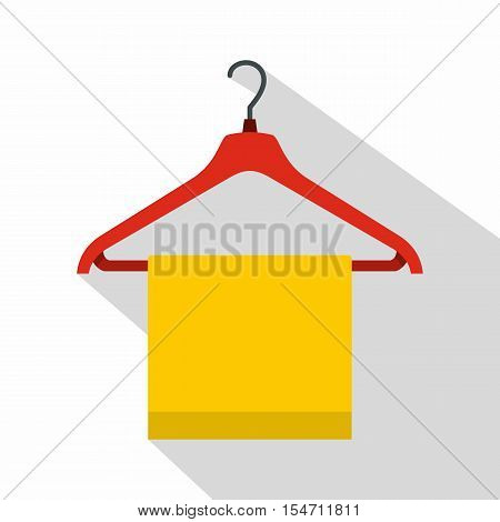 Hanger with cloth icon. Flat illustration of hanger with cloth vector icon for web