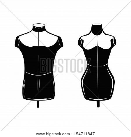 Vintage fashion mannequins isolated on white. Vector Illustration