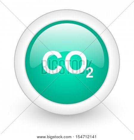 carbon dioxide round glossy web icon on white background