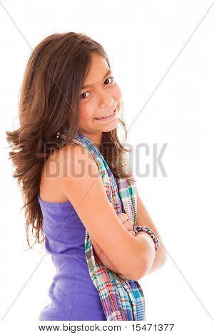 ten year beautiful little girl posing (isolated on white)