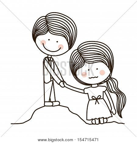 silhouette boy saving girl on quicksand vector illustration