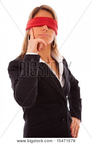 businesswoman with a red scarf in her eyes, thinking what to do