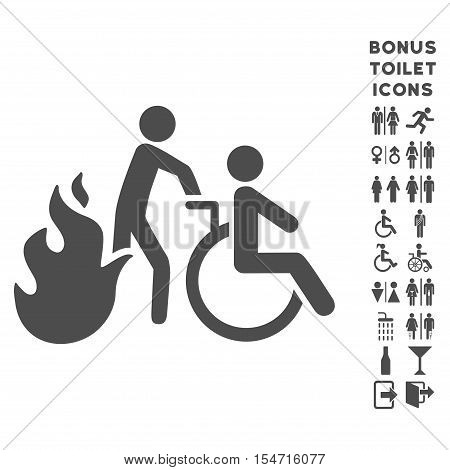 Fire Patient Evacuation icon and bonus gentleman and female lavatory symbols. Vector illustration style is flat iconic symbols, gray color, white background.