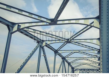 The bridge is made of steel stabilizer in Bangkok.