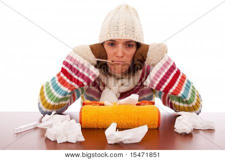 sad woman whit flu symptom and a thermometer in her mouth (isolated on white)