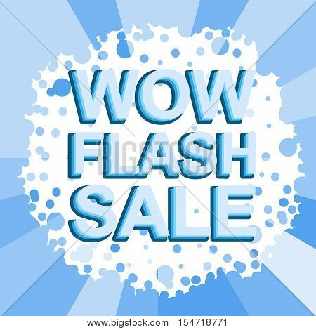 Big winter sale poster with WOW FLASH SALE text. Advertising blue  banner template