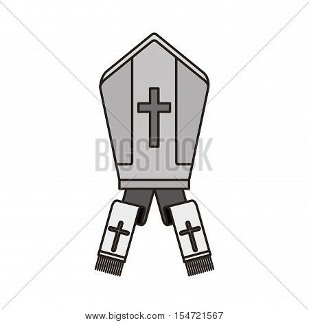 pope hat with religious cross icon over white background. vector illustration