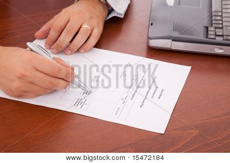 businessman at the office analyzing a flowchart document