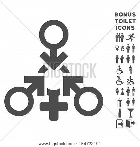 Triple Penetration Sex icon and bonus male and woman WC symbols. Vector illustration style is flat iconic symbols, gray color, white background.