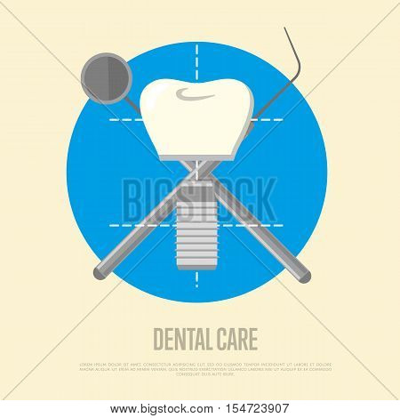 Dental care banner with tooth implant and crosswise instruments. Dentistry isolated vector illustration. Healthcare and tooth care. Health tooth and dental implant concept. Oral hygiene