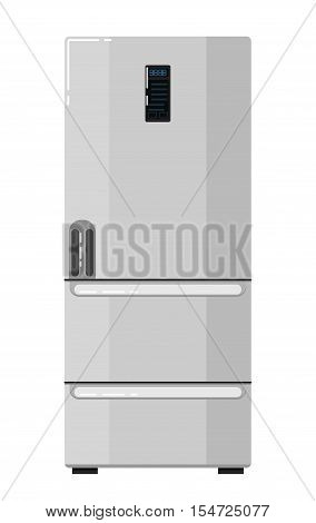 Modern home refrigerator isolated on white background vector illustration. Household appliances in flat design. Kitchen equipment. Home electro technics. Fridge, freezer icon