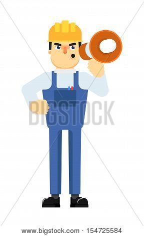 Construction manager in uniform and helmet with megaphone isolated on white background vector illustration. Angry foreman character in flat design. Industrial supervisor.