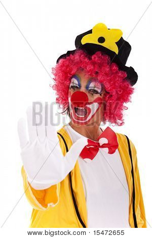 Clown telling you to stop (isolated on white)