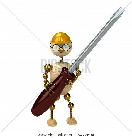 3D Wood Man With A Screw-driver