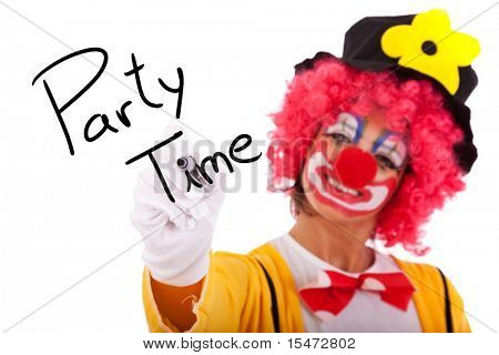 funny clown writing Party Time on the whiteboard