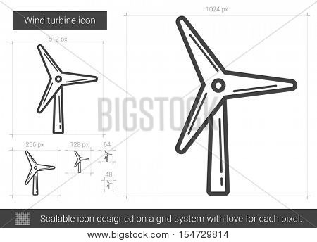 Wind turbine vector line icon isolated on white background. Wind turbine line icon for infographic, website or app. Scalable icon designed on a grid system.